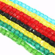 Faceted square / cube glass beads